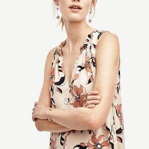 Ann Taylor | Blush Pink Floral Sleeveless Blouse